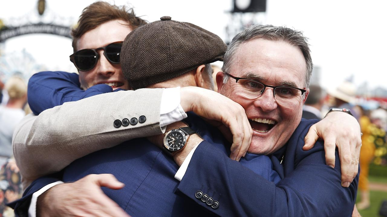 Celebrating the big win at the 2019 Melbourne Cup Day at Flemington Racecourse. Picture: Daniel Pockett/Getty Images