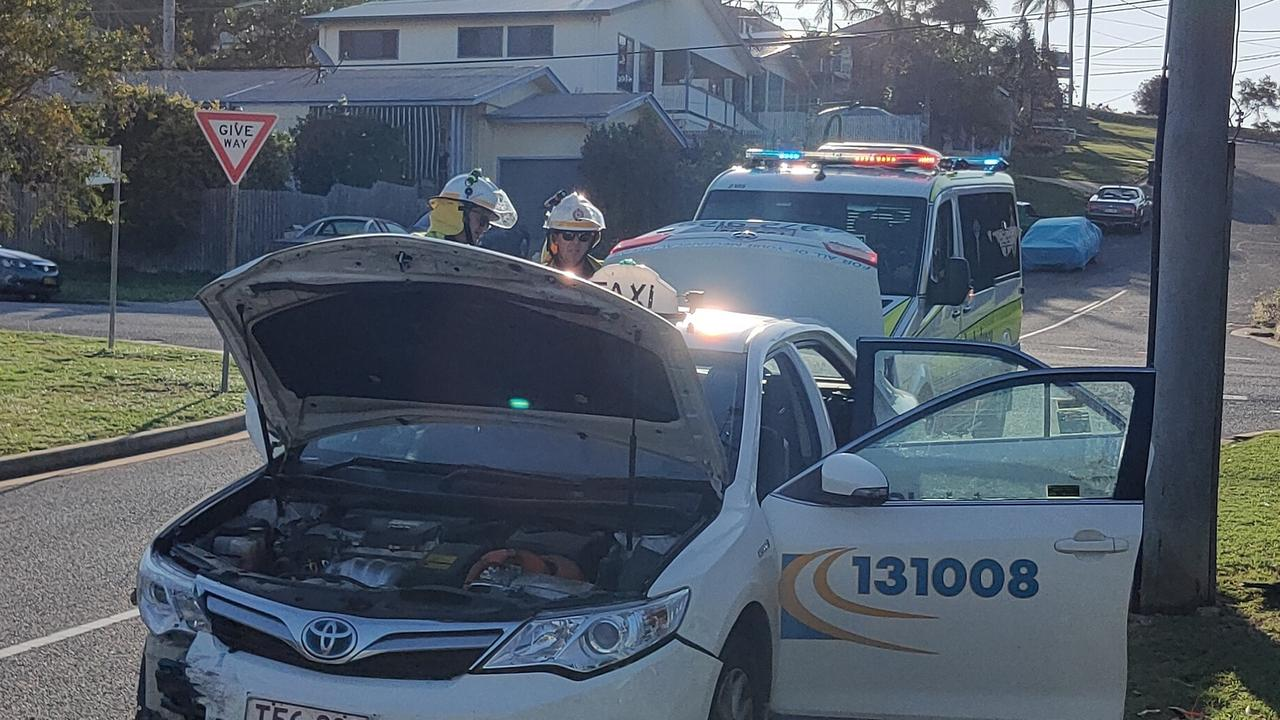 A two-car crash occurred near the intersection of Ann and Cross Streets at South Gladstone this afternoon involving a dark grey Honda sedan and a taxi. Picture: Rodney Stevens