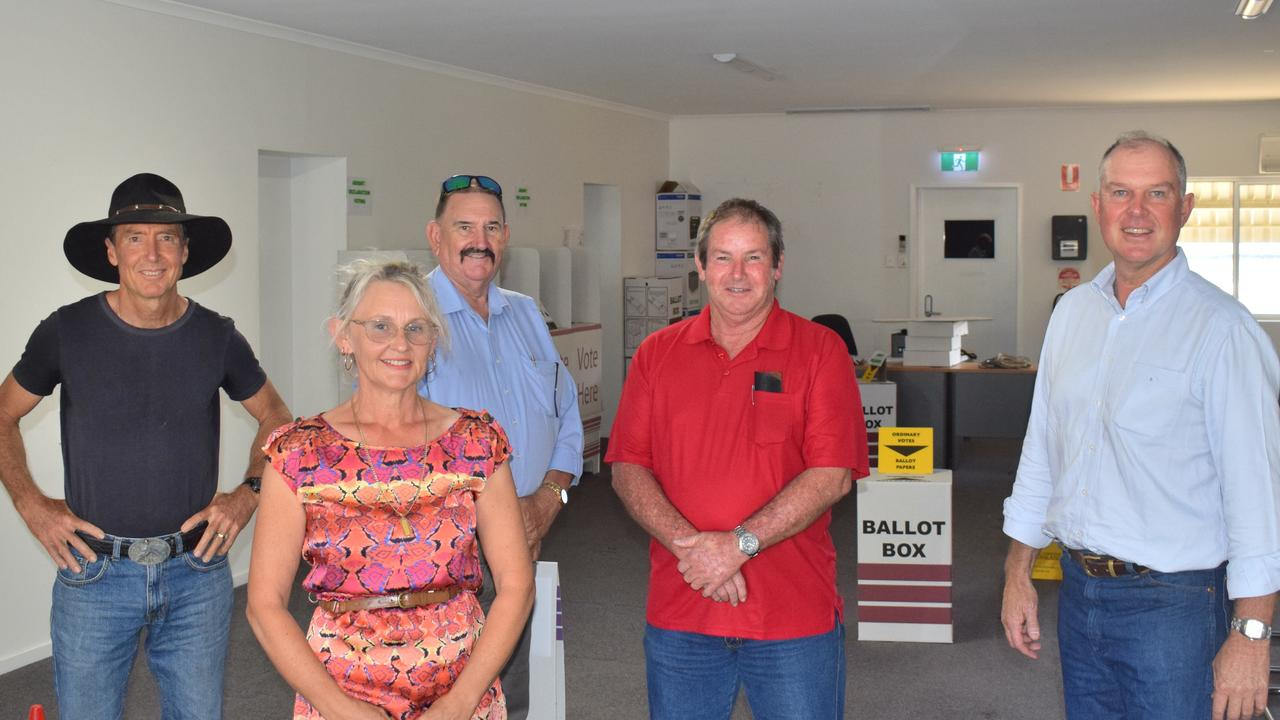 At the ballot draw for Gympie's seat in the 2020 Queensland Election: Tim Jerome (IND), Donna Reardon (IND), Michael Blaxland (ONP), Geoff Williams (ALP) and Tony Perrett (LNP).