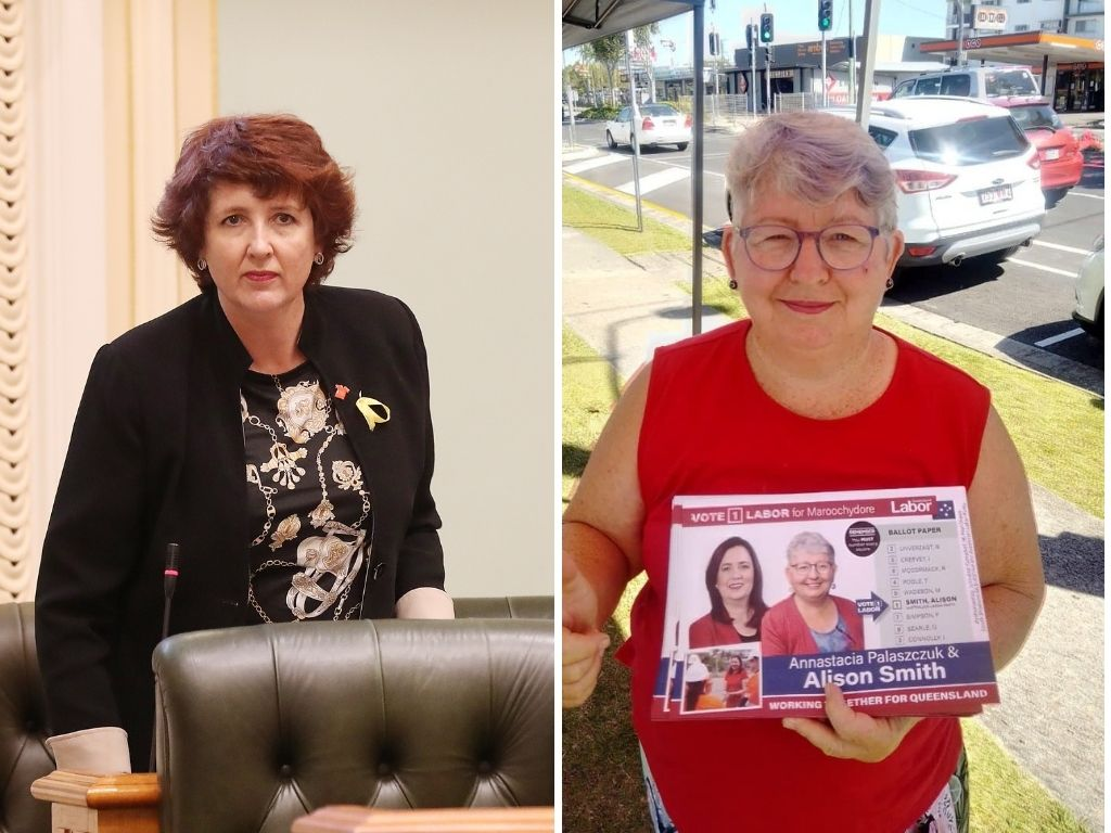 Maroochydore MP Fiona Simpson and Labor candidate Alison Smith.