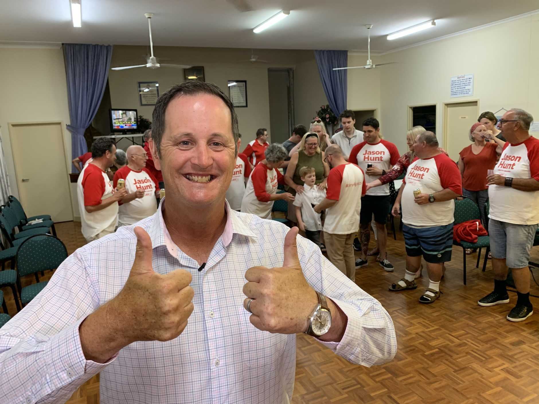 Jason Hunt at Caloundra state election celebrations.