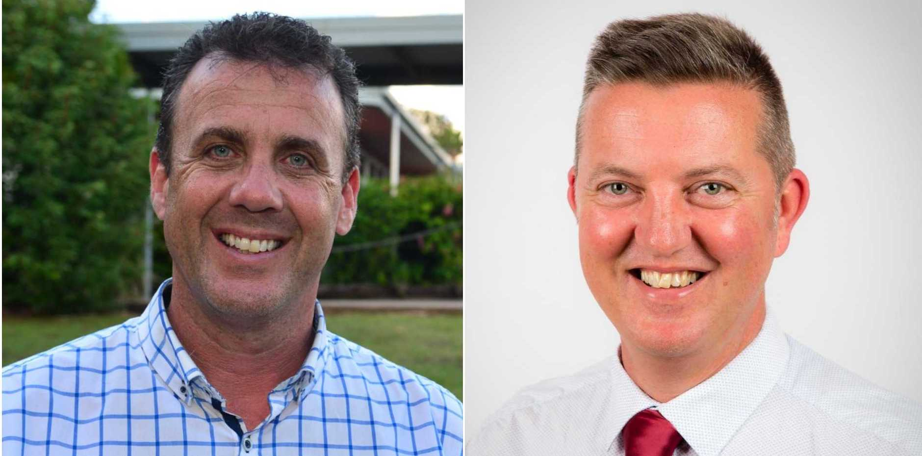 Nicklin MP Marty Hunt and Labor candidate Rob Skelton.