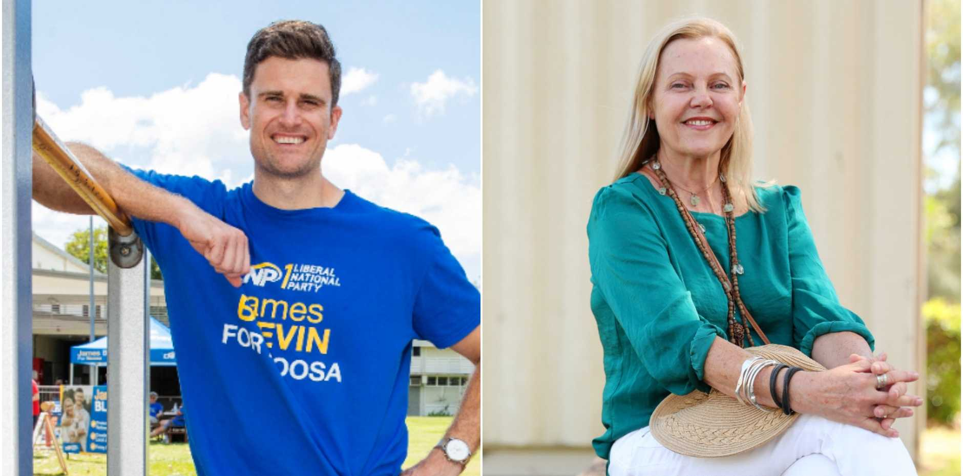 Independent Noosa MP Sandy Bolton and LNP candidate James Blevin.