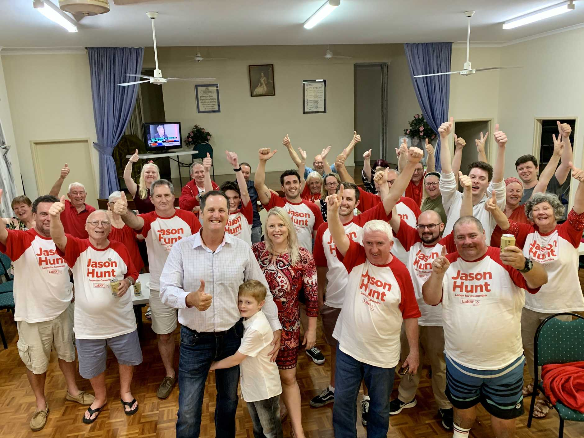 Labor candidate for Caloundra Jason Hunt celebrates with family, friends and volunteers.