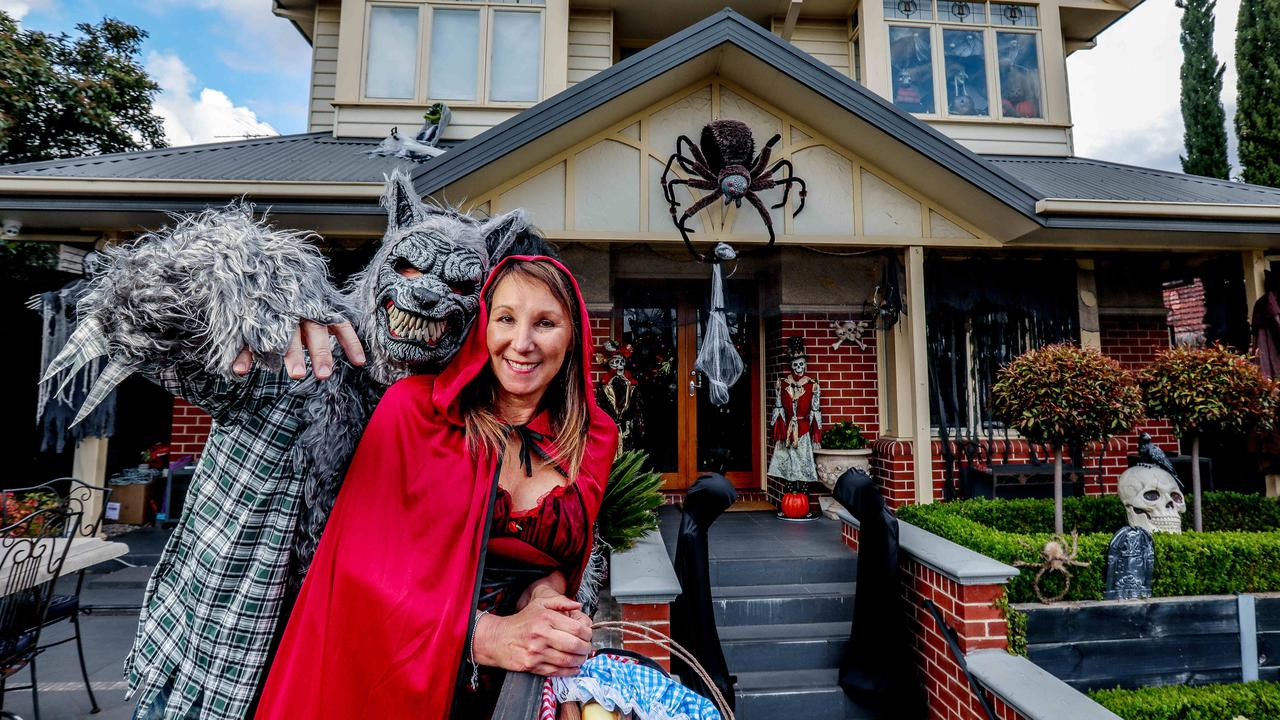 The pair normally host a Halloween party for friends and family on their front terrace. Picture: Tim Carrafa.