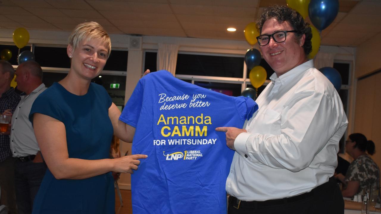 Amanda Camm with Dawson MP George Christensen on election night. Picture: Melanie Whiting