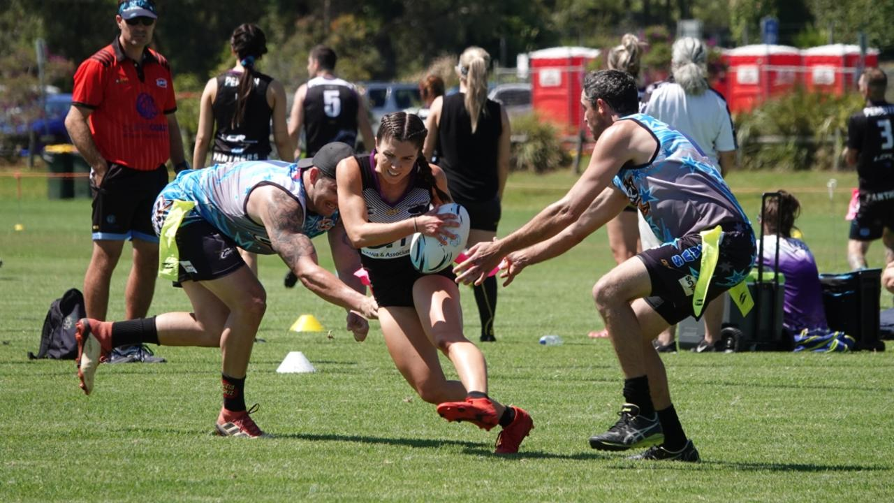 Action from the Oztag 2020 NSW Senior State Cup at the Coffs Coast Sport and Leisure Park. Photo: David Wigley
