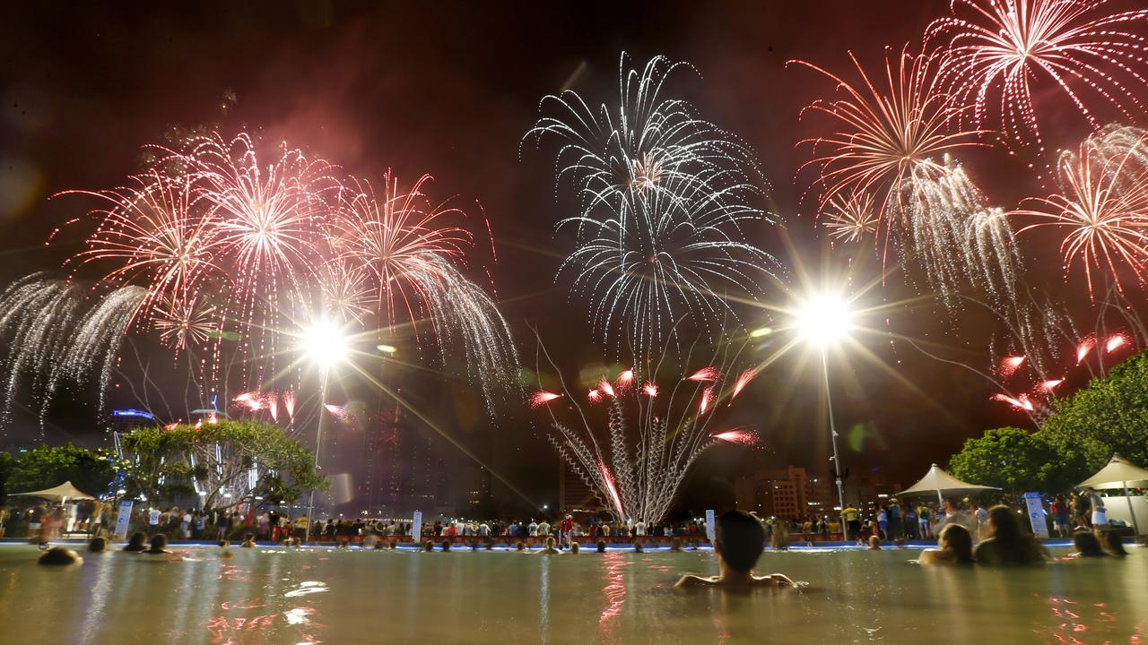 Fireworks over the South Bank Lagoon at New Year's Eve last year