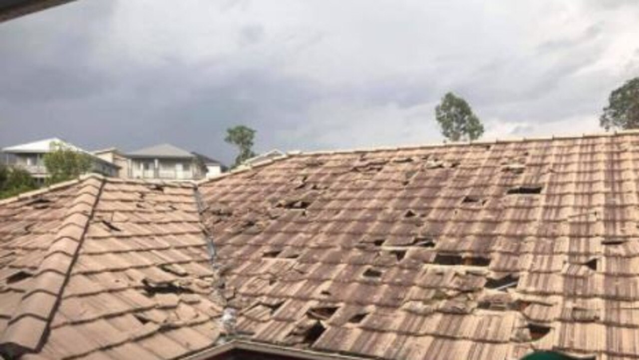 A house in Springfield Lakes sustained severe hail damage as storms ravaged the region on October 31.