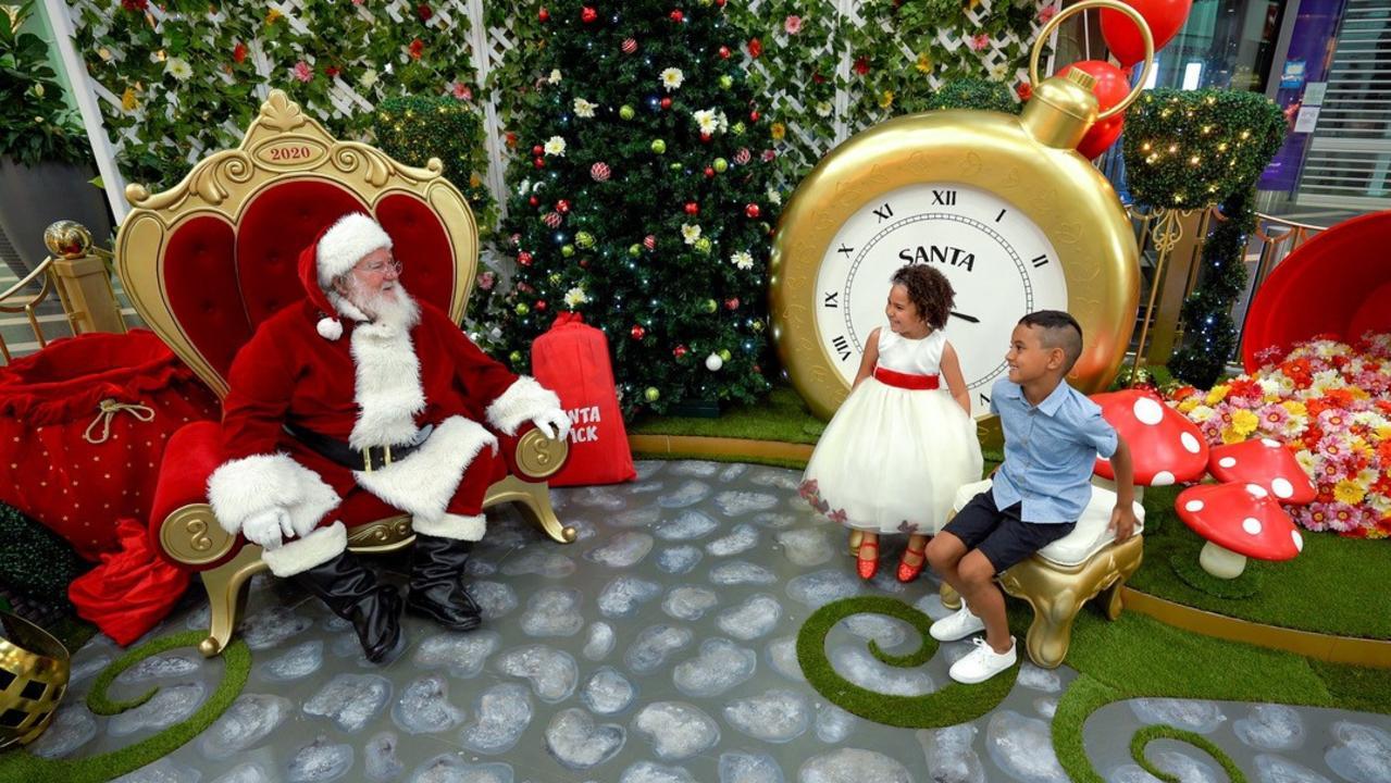 Jacinta Jones and Zander Ahwang visiting Santa at Caneland Central for Christmas 2020. Picture: Contributed