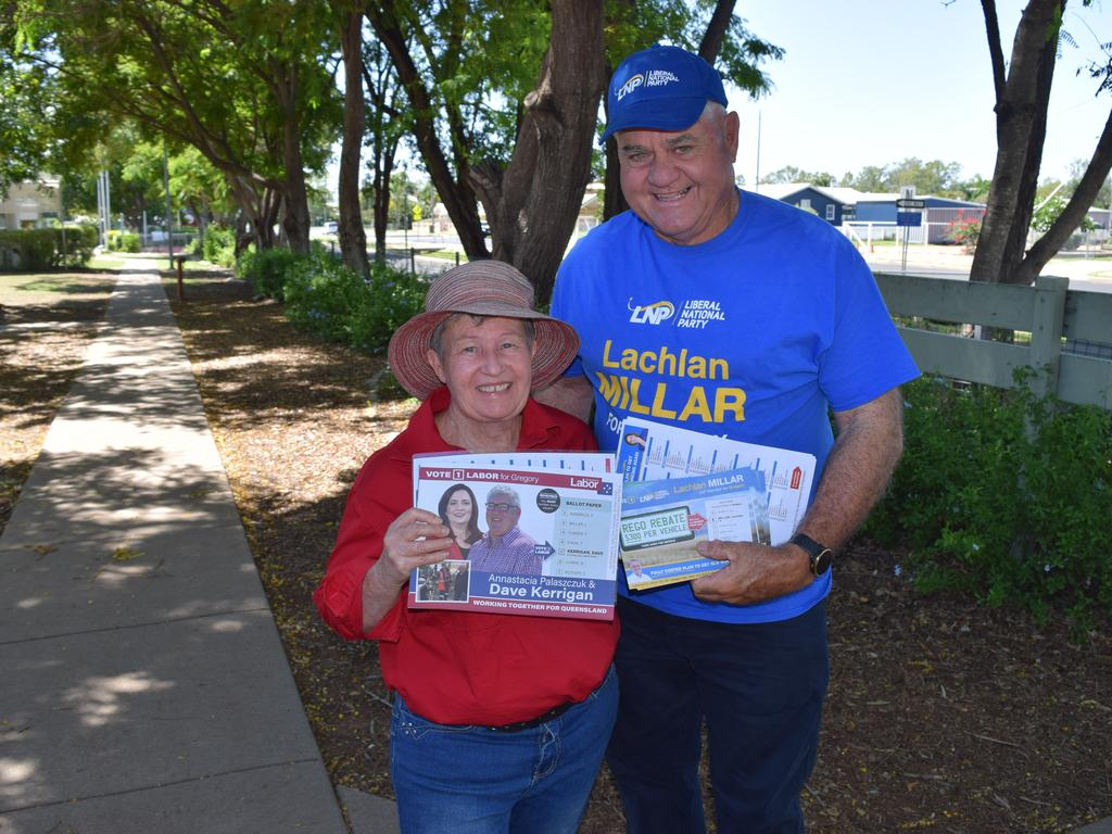 Myra Stanton and Ian Burnett at the Denison State School polling booth on October 31 for the 2020 state government election.