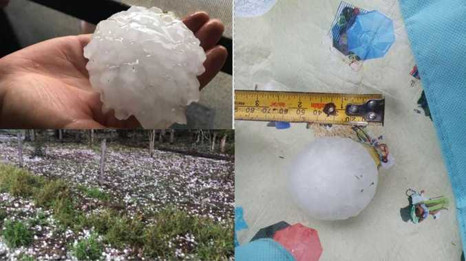 Large hailstones batter Ipswich as multiple storms hit