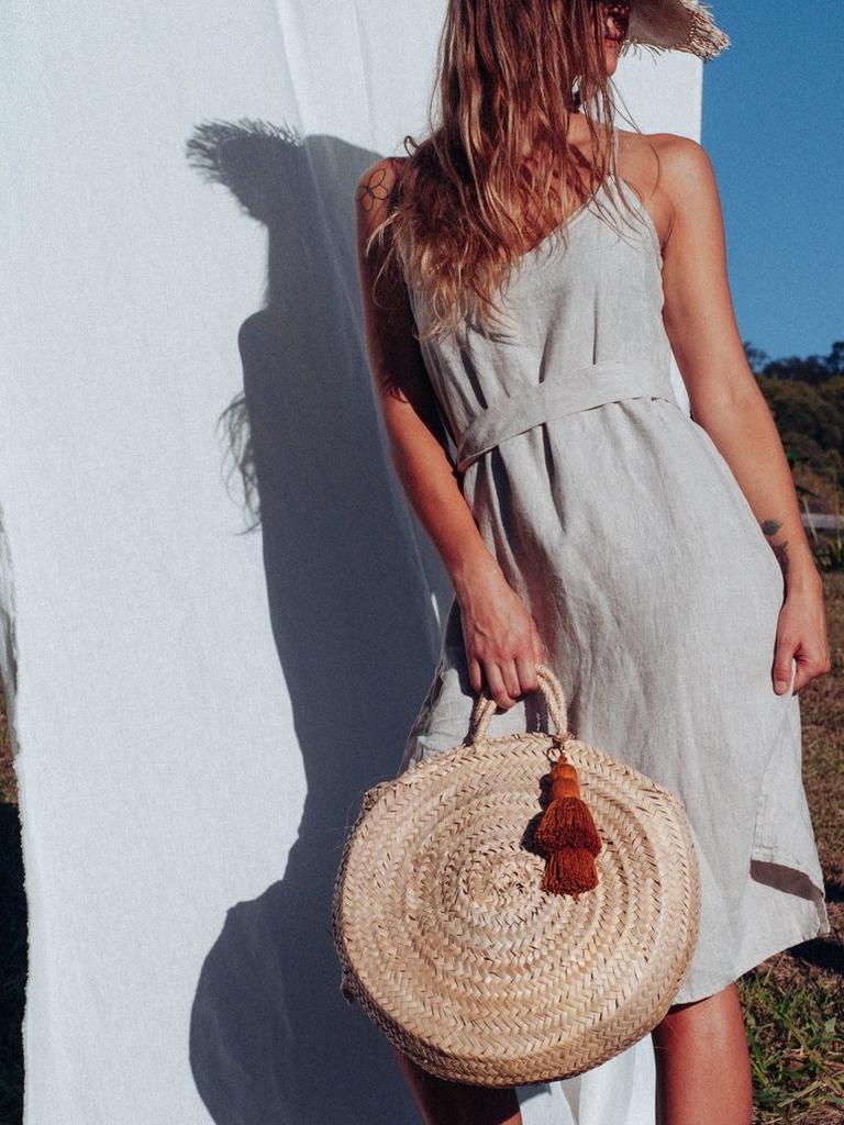 Sabali The Label Summer Linen Slip in Sand. Picture: Sabali The Label