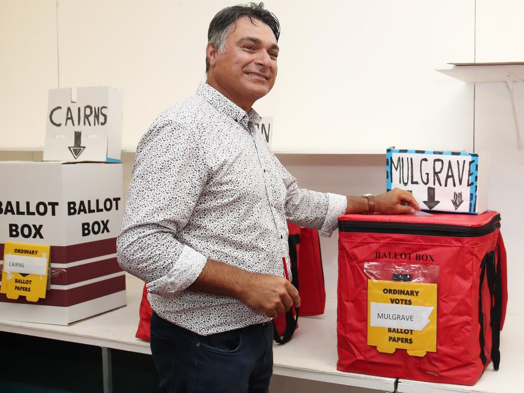 LNP candidate for Cairns Sam Marino was one of more than a million electors who cast a vote at a pre-polling booth ahead of Saturday's election. Picture: Brendan Radke