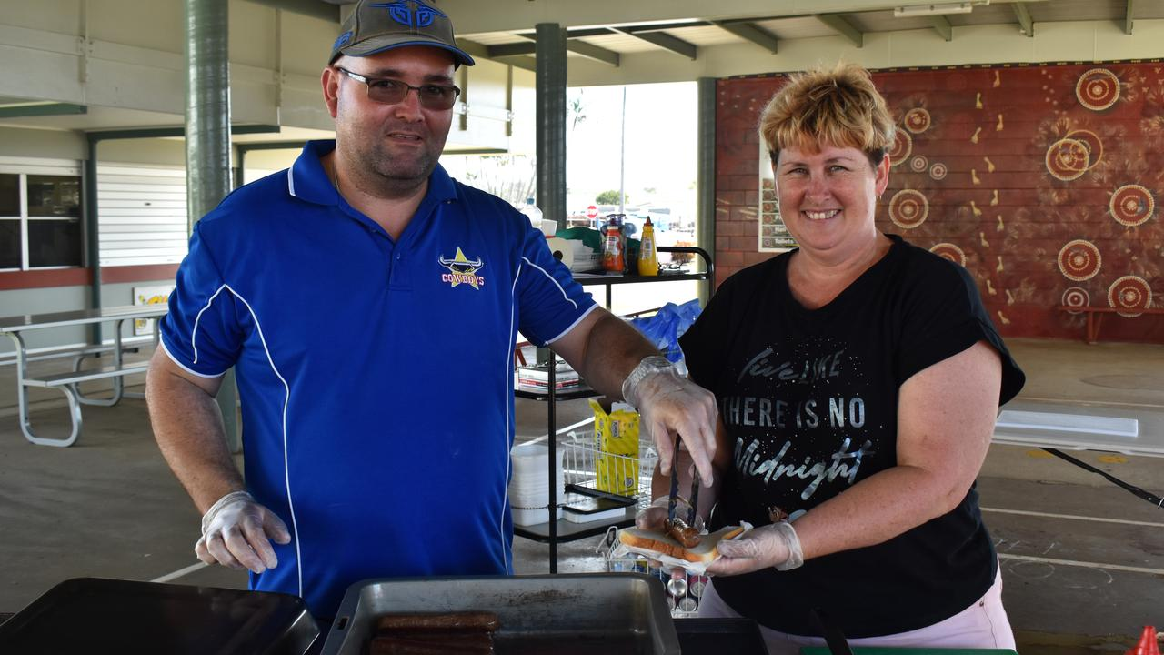 Thabeban State School P&C president James McManus and tuckshop coordinator Trudi Riseley. Picture: Rhylea Millar