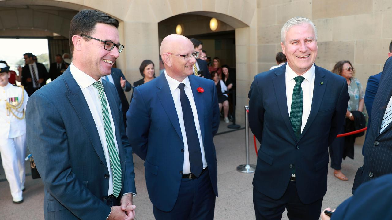 NOMINATE NOW: Member for Maranoa David Littleproud, Deputy Prime Minister Michael McCormack and Nationals Member for Gippsland Darren Chester at the Last Post Ceremony at the Australian War Memorial this year. Picture: File