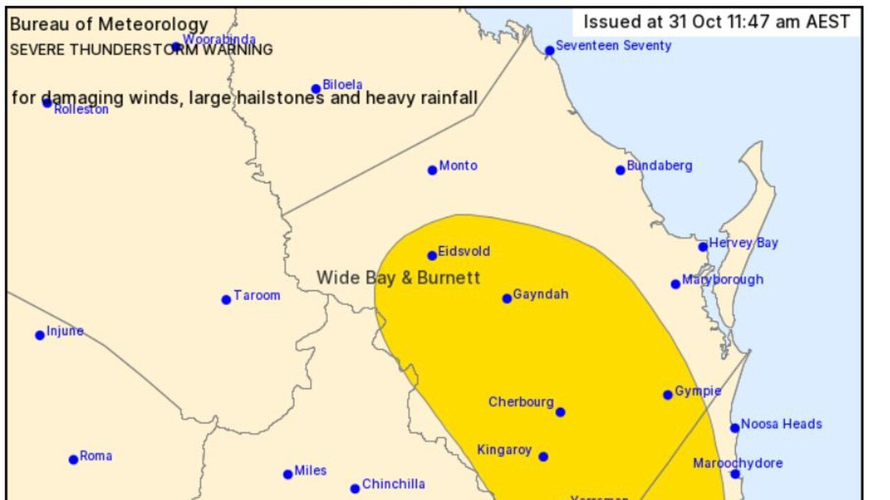 Severe thunderstorms are tipped to rapidly develop and head towards Gympie in the coming hours.