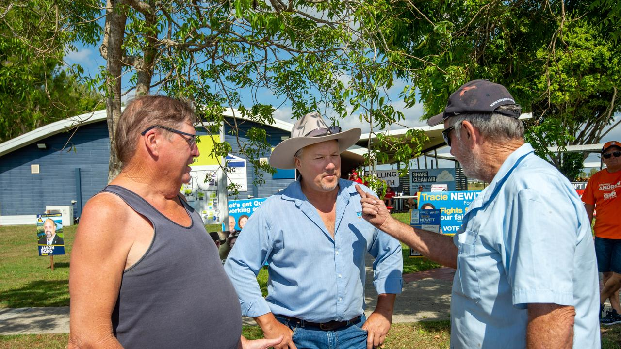 Mackay, 31 Oct 2020, Qld State Election. Member for Mirani, Stephen Andrew with voters Peter McNeill and Alan Crowley at CQ University Polling Booth. Photo : Daryl Wright