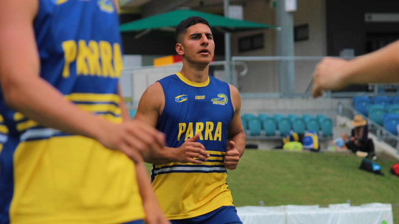 Khodar Jebara warms up before a match during the Oztag 2020 NSW Senior State Cup at Coffs Coast Sport and Leisure Park. Photo: Tim Jarrett