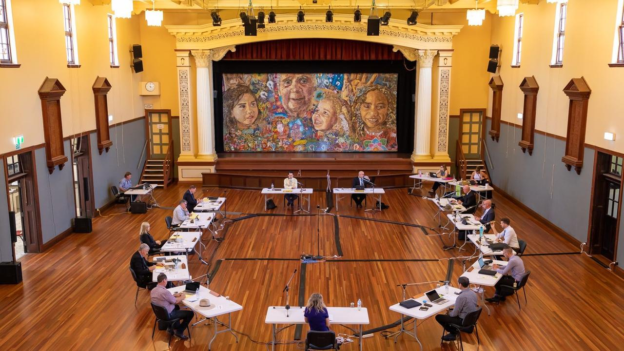 Councillors social distancing at a Fraser Coast Regional Council meeting earlier this year.