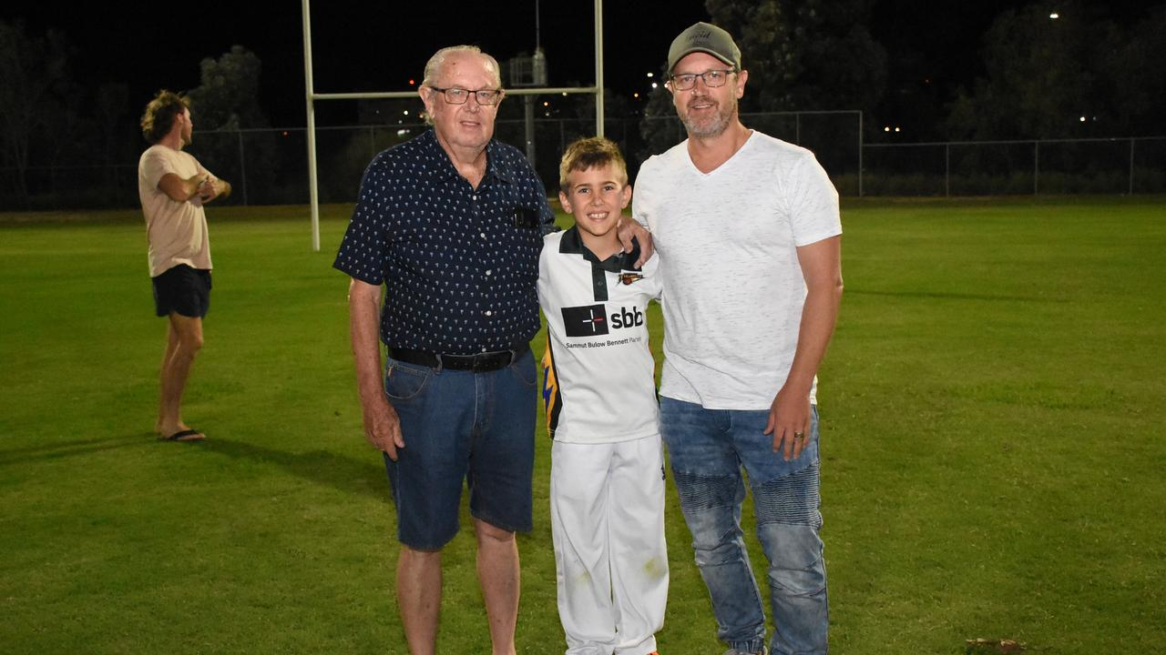 Marburg Mt Crosby junior cricketer Tyler Johnson with his grandfather Ken and dad Michael at Len Johnson Oval. Tyler's great grandfather Len, after which the field was named, played for Australia. Picture: Gary Reid