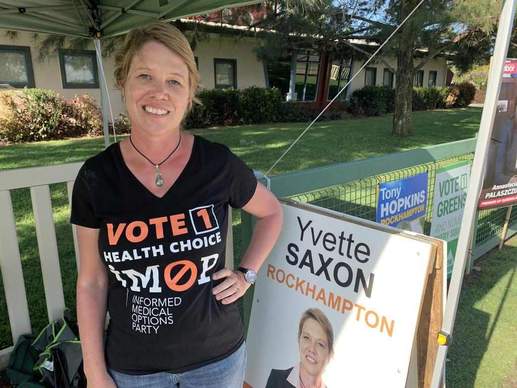 IMOP candidate Yvette Saxon at North Rockhampton High School on election day.