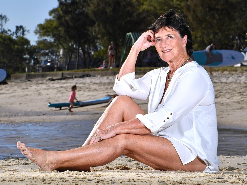 Labor voter Christine Eddington on the beach at Bribie Island. Picture: John Gass