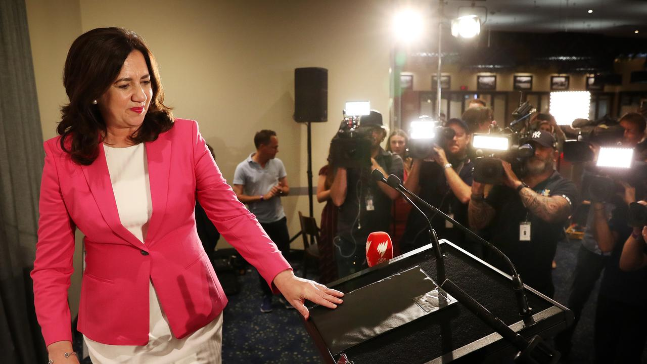 Annastacia Palaszczuk walks on stage to make her victory speech at the election after-party, Blue Fin Fishing Club, Inala. Photographer: Liam Kidston.