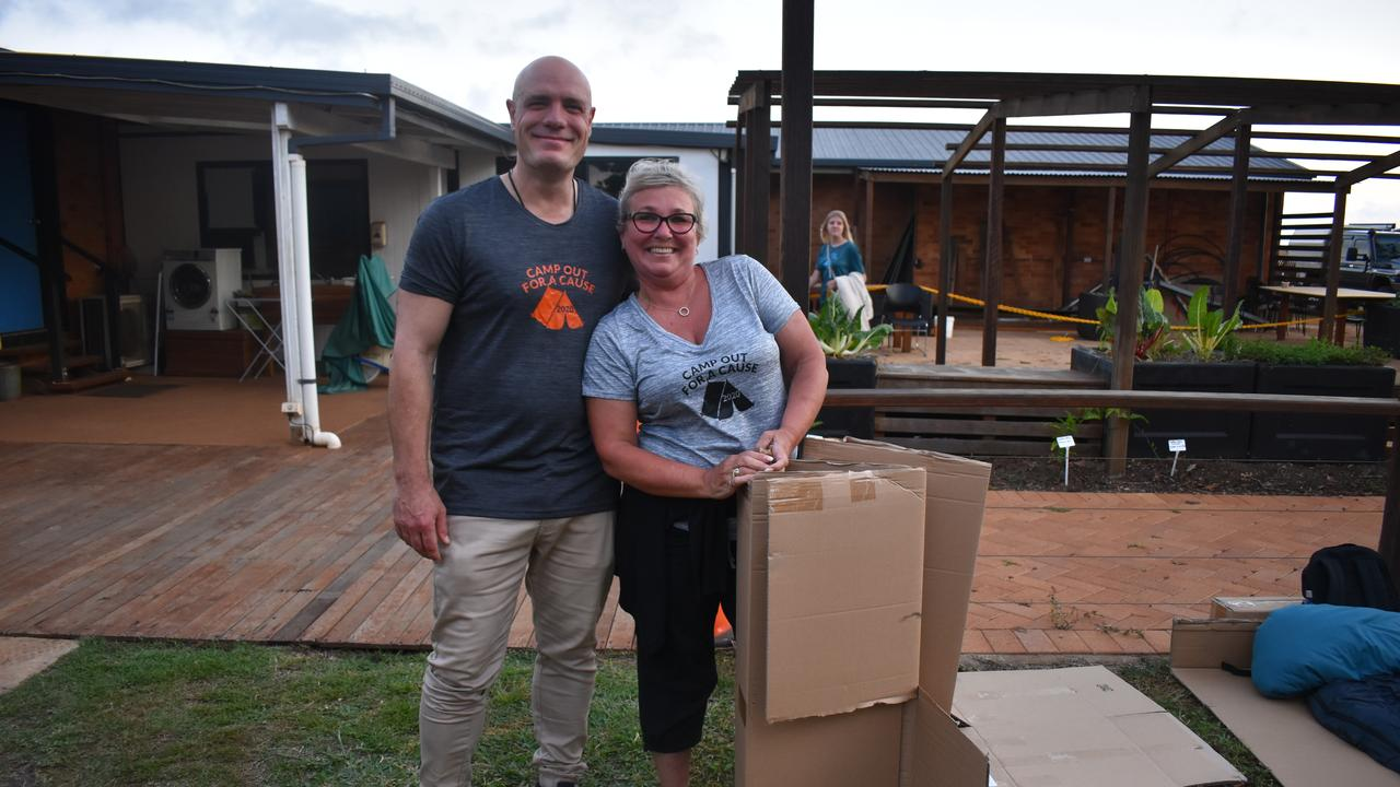 Nominating themselves to sleep on cardboard boxes for the entire night, Damien Tracey and Tania Pavlicevich weren't fazed by sleeping under the stars. Picture: Rhylea Millar