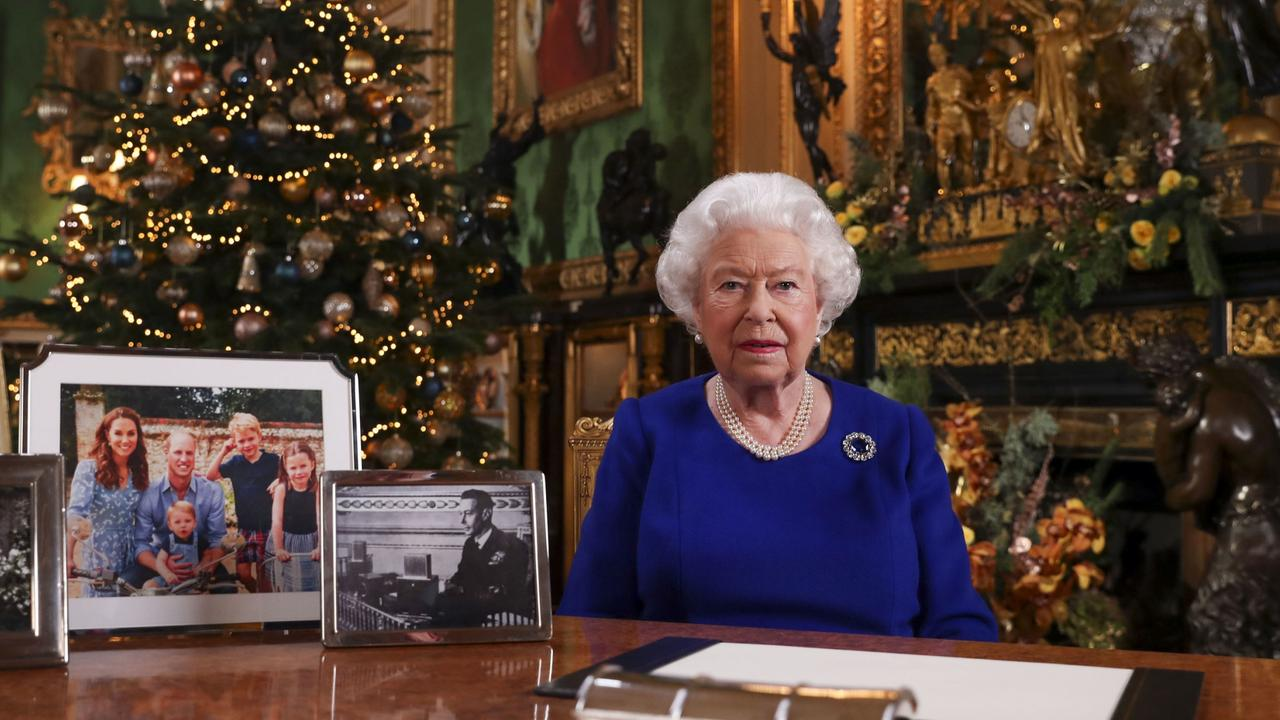 Queen Elizabeth II records her annual Christmas broadcast in Windsor Castle, Berkshire, England. Picture: Steve Parsons/WPA/Getty Images