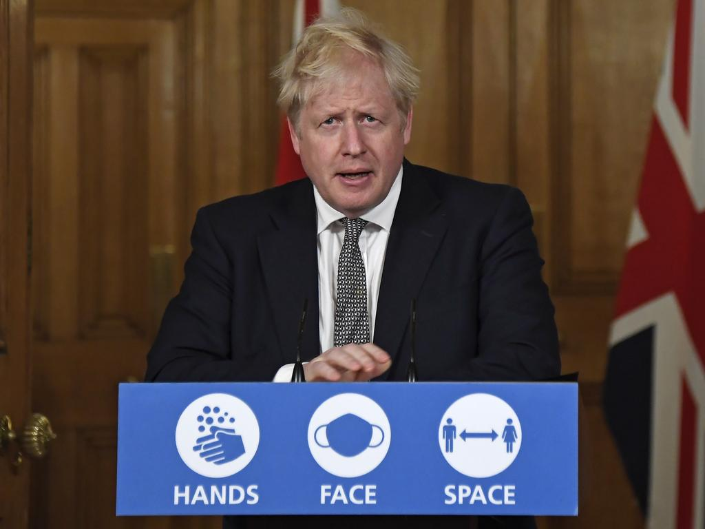 Boris Johnson announces the a new four-week lockdown across England. Picture: Getty Images