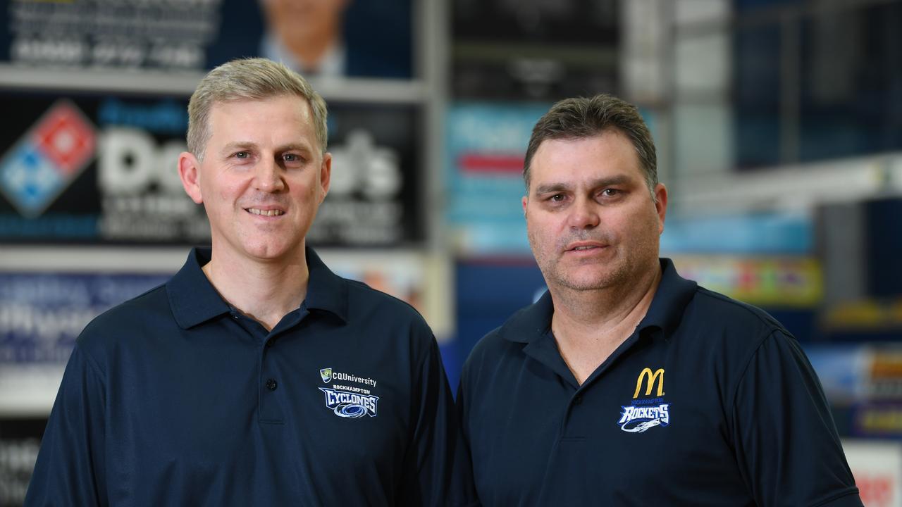 Ben Greany, coach of the CQUniversity Rockhampton Cyclones, with Rockhampton Basketball general manager Wade Rebetzke.
