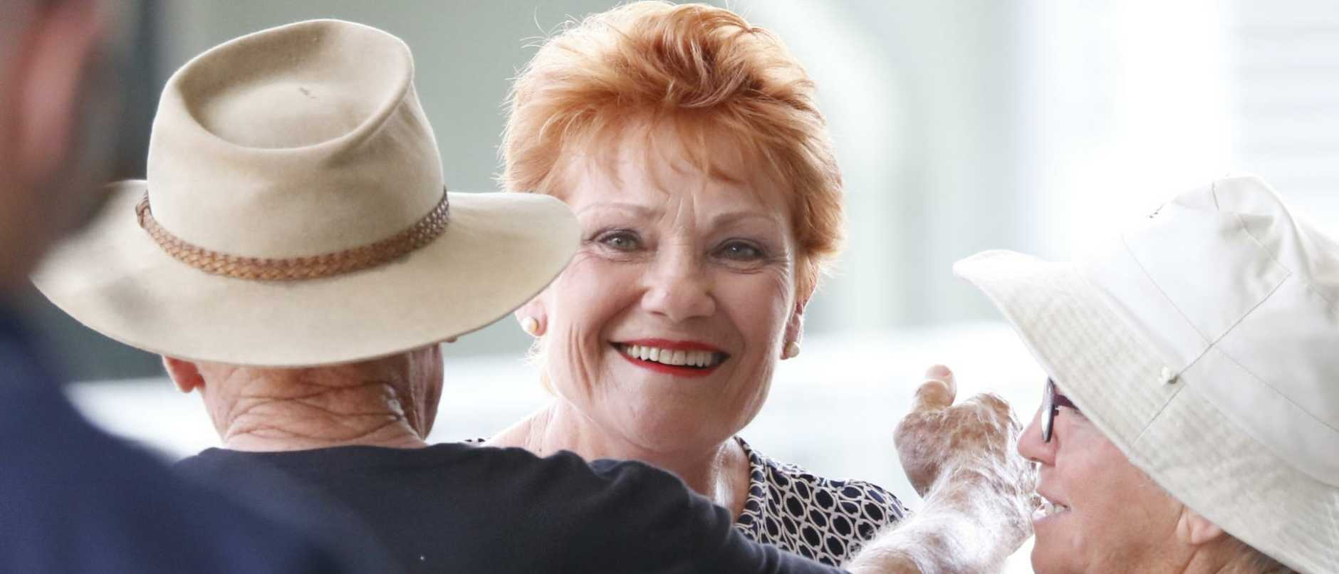 One Nation Leader, Pauline Hanson mixing with the public at Glenmore State High School