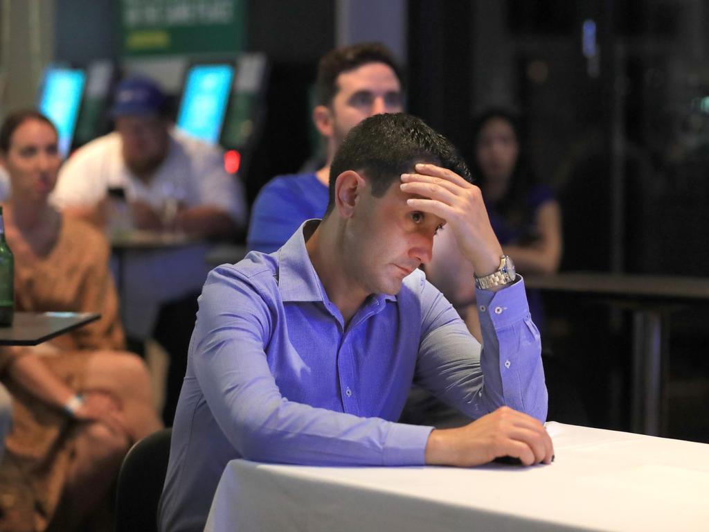 David Crisafulli monitors the vote on Saturday night. Picture: Scott Powick