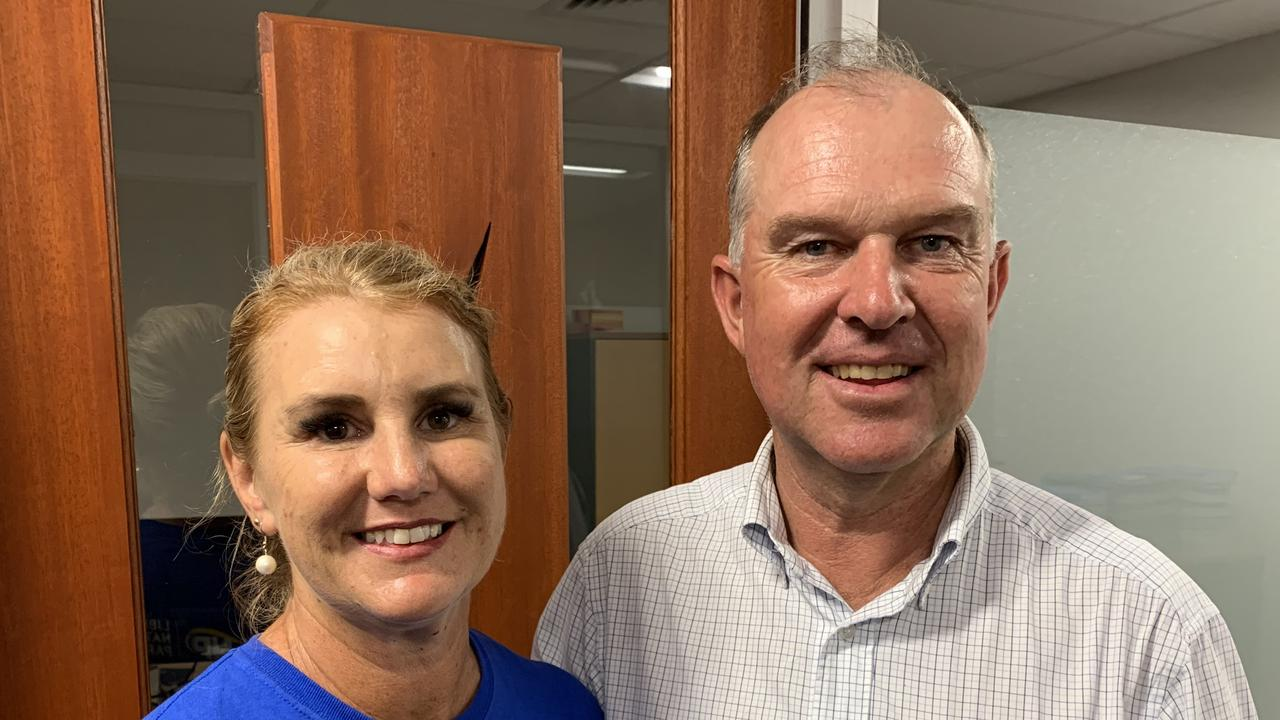 Incumbent LNP candidate Tony Perrett (pictured with wife Michele) is expected to claim a third term as Gympie's state representative.