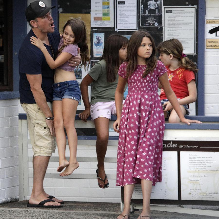 Matt Damon in Byron Bay with his kids.