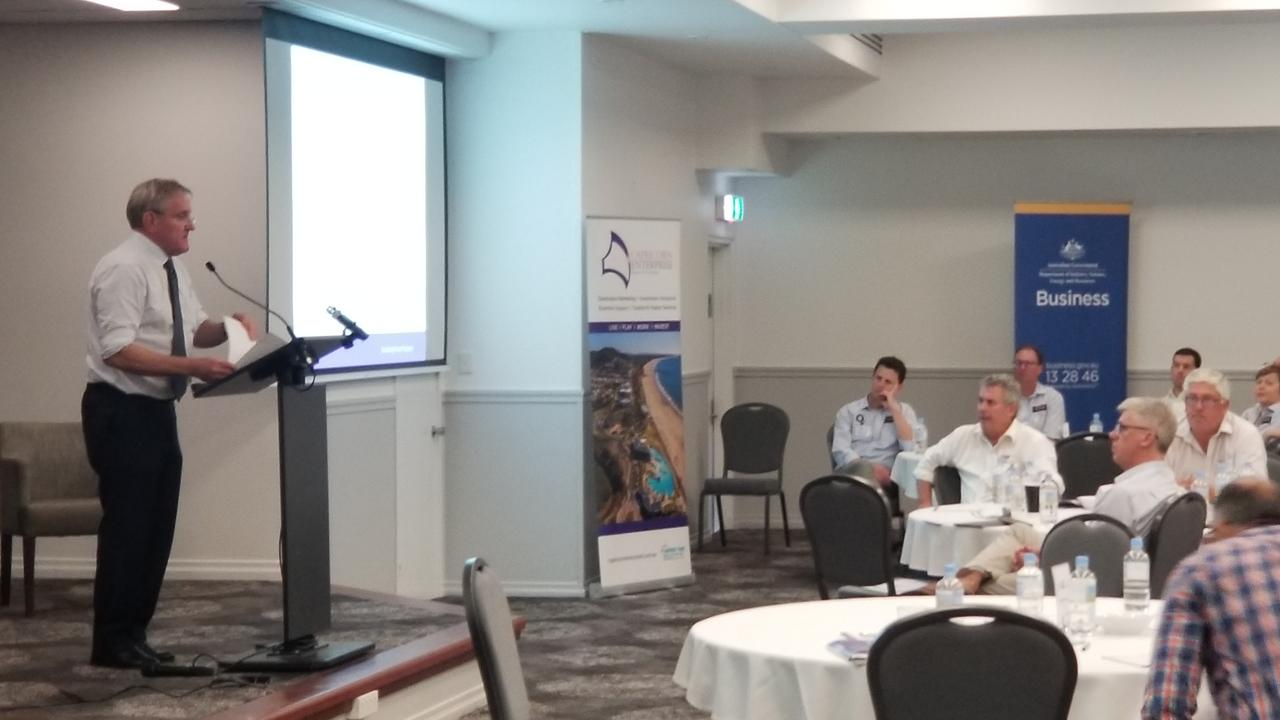 QRC chief executive Ian Macfarlane speaking at the Capricorn Enterprise Major Projects Forum in Rockhampton.