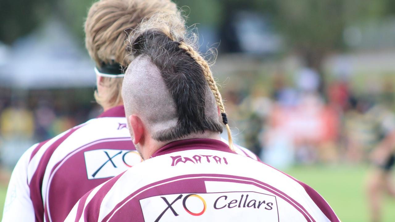 Noosa player Dave Grant sports a wacky hairdo in the A-grade grand final. Picture: Tom Threadingham