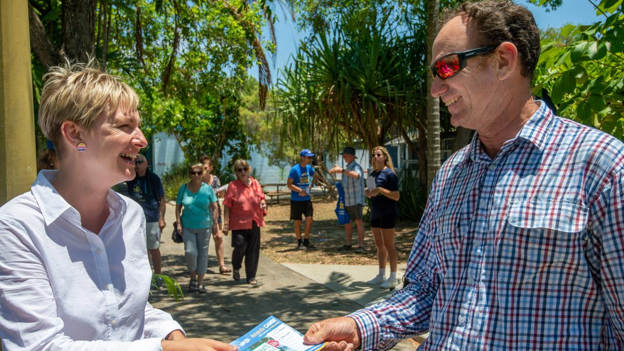 LNP candidate for Whitsunday Amanda Camm with voter Brian Farquhar at Bucasia Primary School booth. Picture: Daryl Wright
