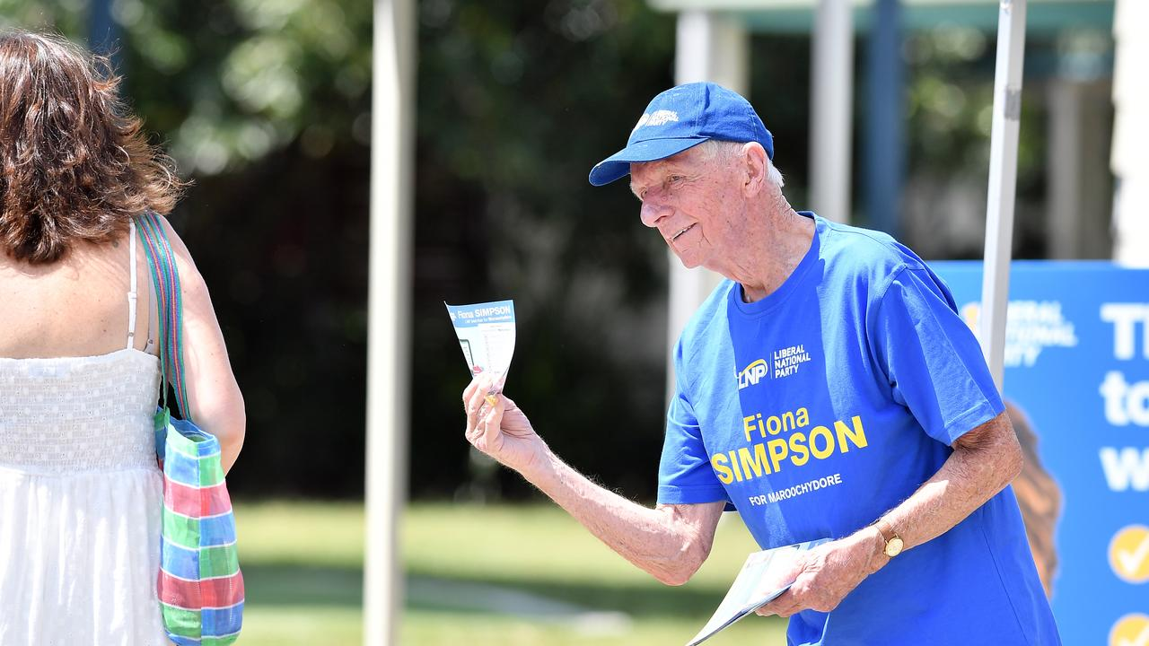 Gordon Barnard at the Pacific Paradise State School polling booth on October 31. Photo Patrick Woods / Sunshine Coast Daily.