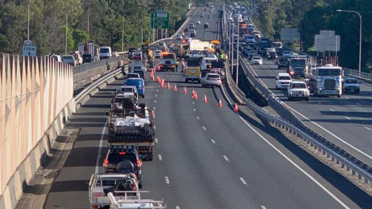 A motorcyclist has been critically injured in a serious crash on the Pacific Motorway at Nerang. Picture: Kathryn Foran/9 News Gold Coast
