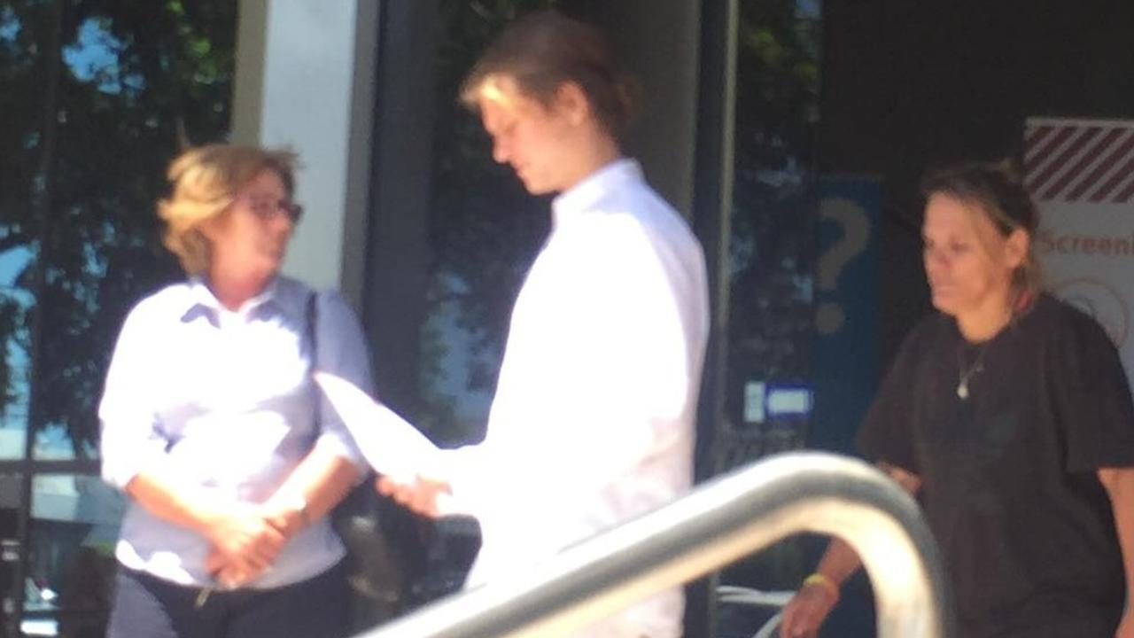Jarrod William Hayes (white shirt) leaves Maroochydore Magistrates Court on Monday after pleading guilty to charges including drug driving, drug possession and stealing. Picture: Laura Pettigrew