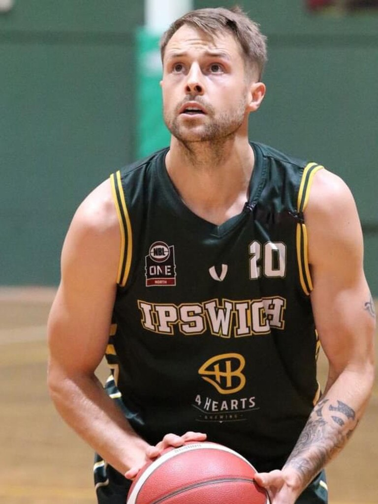 Ipswich Force basketballer Nathan Sobey playing in the 2020 Queensland State League competition.