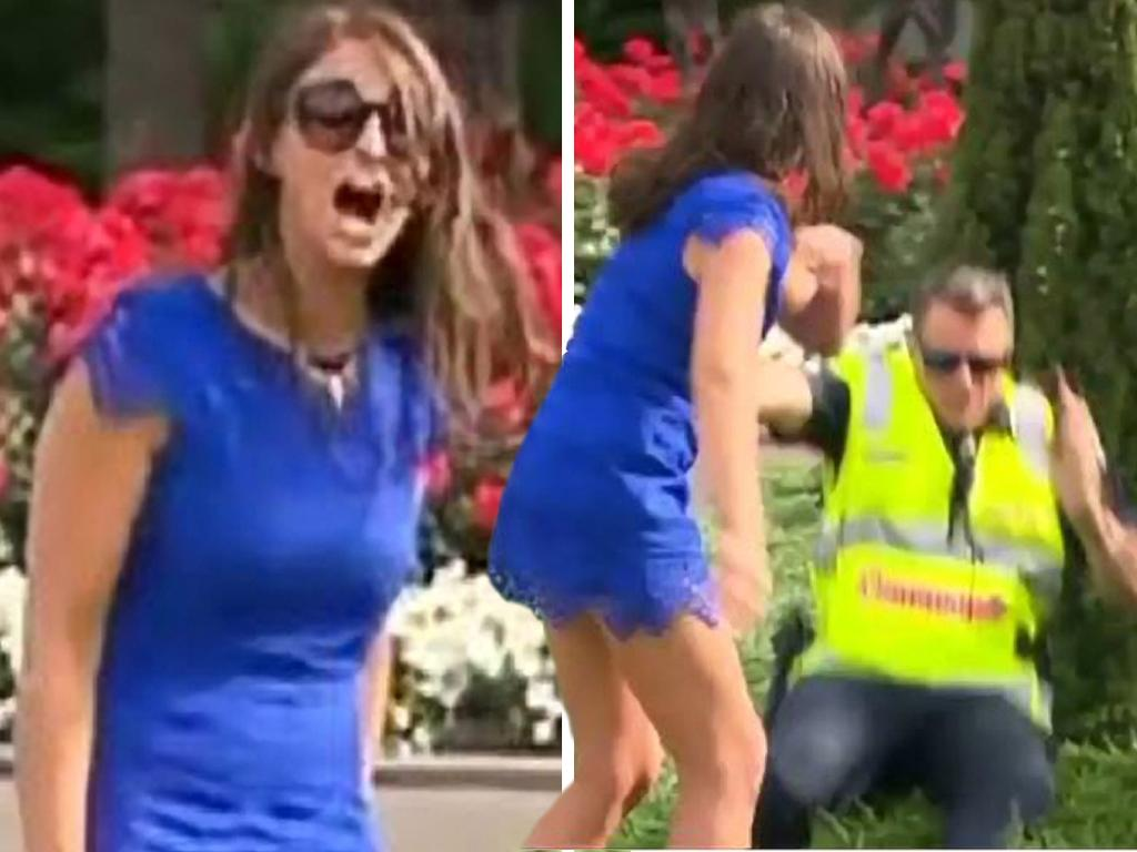 This Melbourne Cup racegoer pushed Acting Superintendent Steven Cooper into the garden in 2015. Picture: 7 News