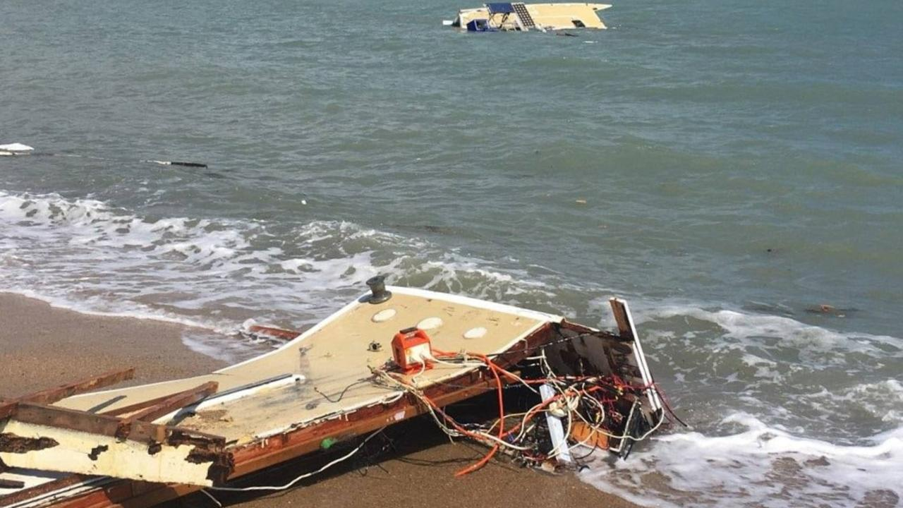 Parts of a trimaran washed up on the Airlie Beach foreshore on the weekend. Picture: VMR Whitsunday