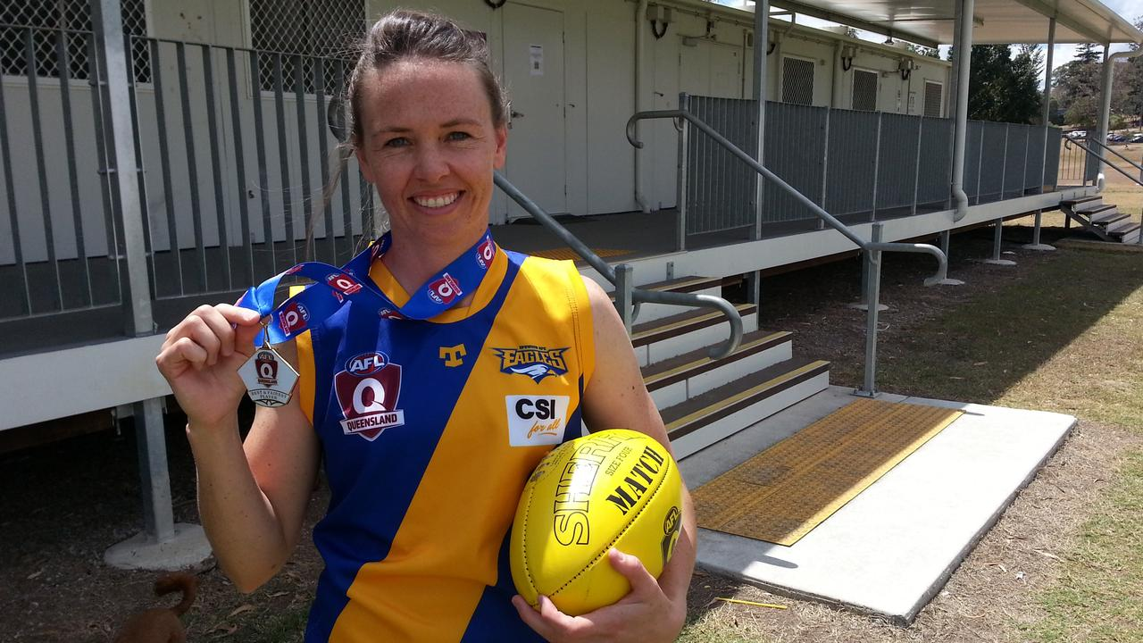 Ipswich Eagles footballer Sophie Crawford won the league's best and fairest award in her first season playing Aussie rules. Picture: David Lems