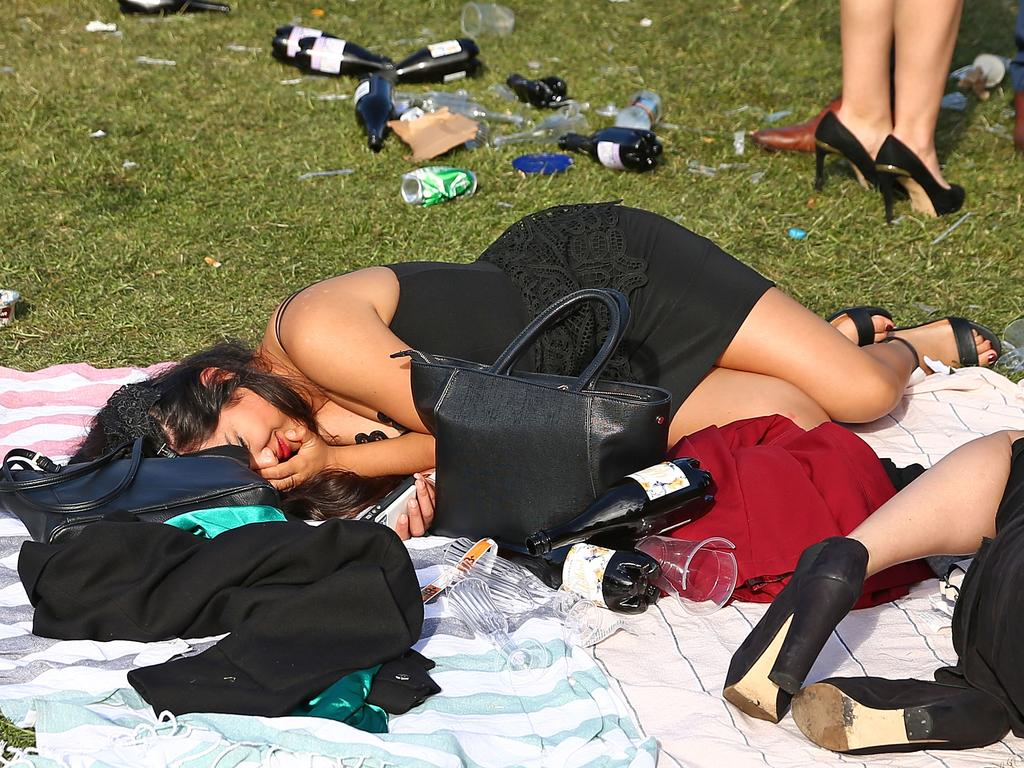 No better time than Cup Day for a nap. Picture: Scott Barbour/Getty Images