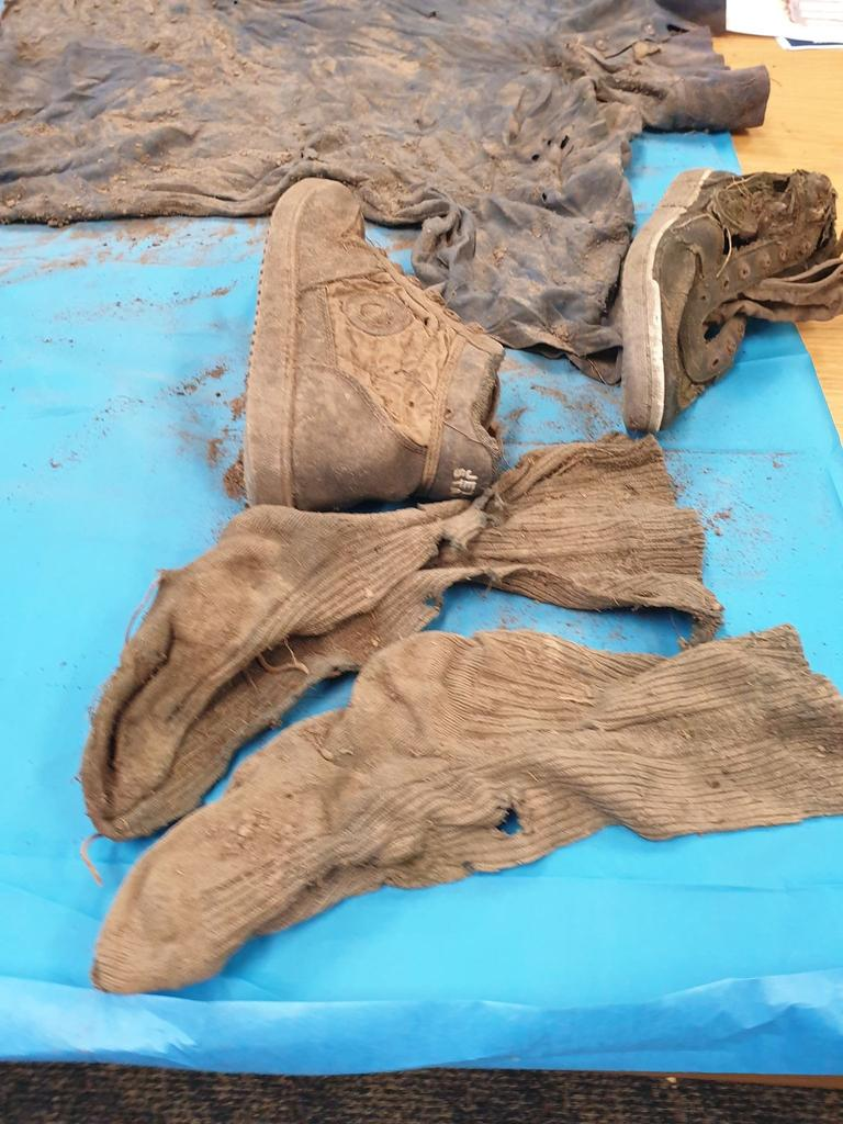 Clothes, shoes and a leg plate were found near the human remains off Keefton Road on the outskirts of Gympie.