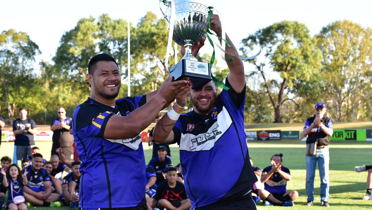 Goodna Eagles captain Ramon Filipine and teammate Ben Niumata savour the 2020 grand final-winning moment at the North Ipswich Reserve. Picture: Bruce Clayton