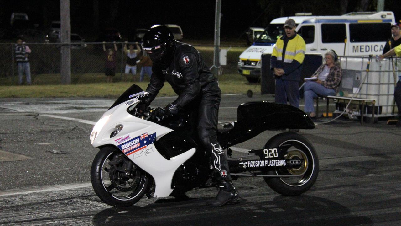 Gladstone's Rick Houston on the start line of Mod Bike in the CQDRA championship. Picture: Rodney Stevens